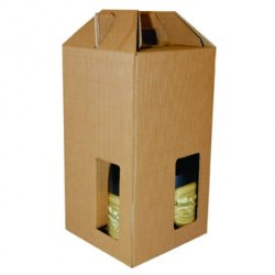 Four Bottle Fluted Gift Carton - Natural / Window