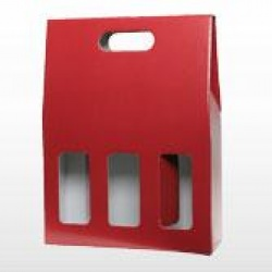 Three Bottle Gift Carton - Red / Window