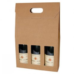 Three Bottle Fluted Gift Carton - Natural / Window